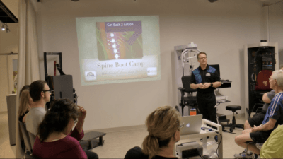 Dr. Gord McMorland Working to Cure Back Pain in Spine Boot Camp Class